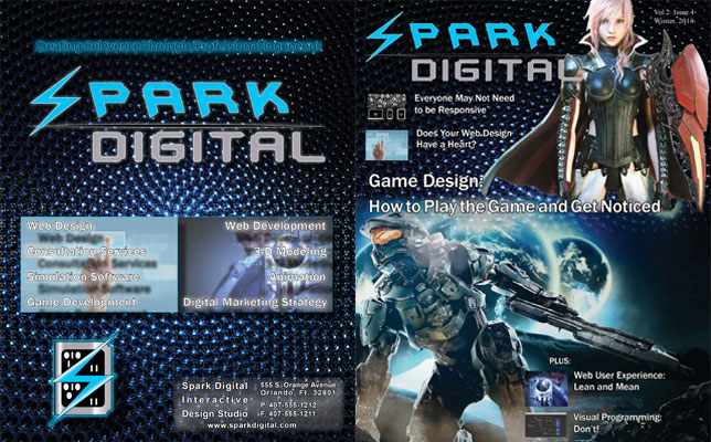 Image of a fictisious magazine cover layout for a technology periodical titled Spark Digital showing 2 video game charactors and headlines