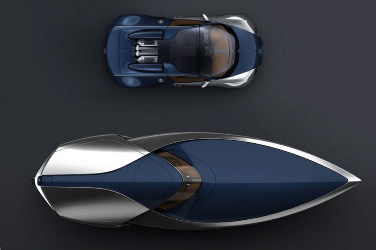 rendering of a concept sport yacht and Bugatti Veyron