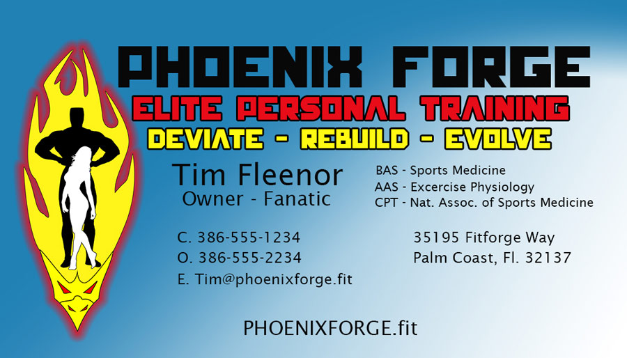 Image of a ficticious business card for a Personal training Business called Phoenix Forge